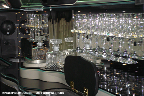 Our Chrysler 300 limousine has everything you need - the wide variety of glasses will make sure your travel is as luxurious as possible!