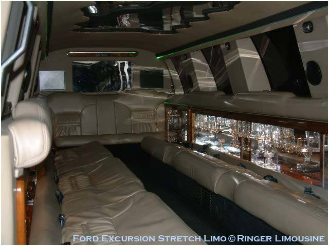 Inside the Ford Excursion limo is ample of room to party!